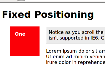 CSS Fixed Positioning from [MDN](https://developer.mozilla.org/fr/docs/Web/CSS/position)
